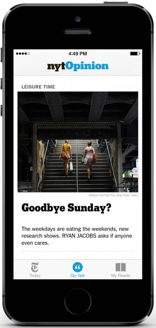 The New York Times is shuttering its NYT Opinion app.