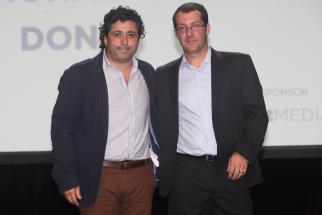 Papon Ricciarelli with Ad Age editor Ken Wheaton at Small Agency Awards
