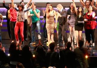 Sofia Vergara and David Lawenda dance onstage at the Univision upfront.