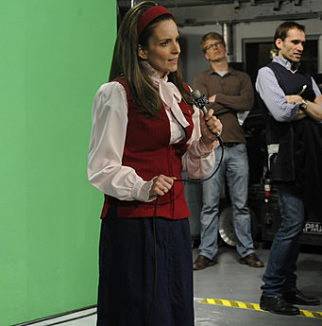 Tina Fey rehearsing for the '30 Rock' live show.