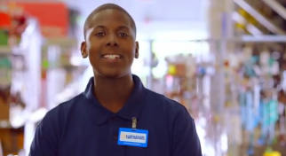 Walmart ad focuses on employee using education benefits to move up.