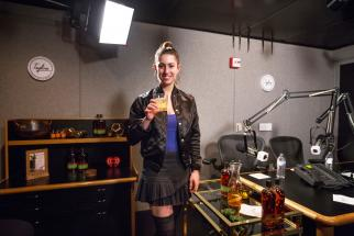 Yael Vengroff, mixologist for Bulleit Frontier Whisky at a recording of the Ad Age and iHeartMedia podcast 'Tagline.'