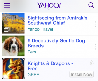 Yahoo's new mobile app install ad