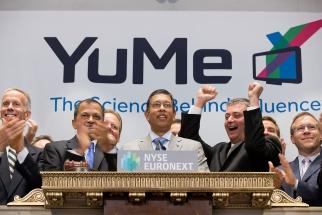 YuMe CEO Jayant Kadambi ringing the NYSE opening bell