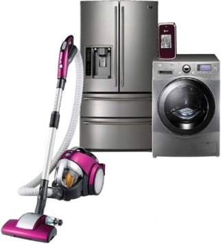 The LG Wine phone, a four-drawer fridge, a front-loading washer, and a user-following 'Kompressor' vacuum are all products targeted to an aging population.