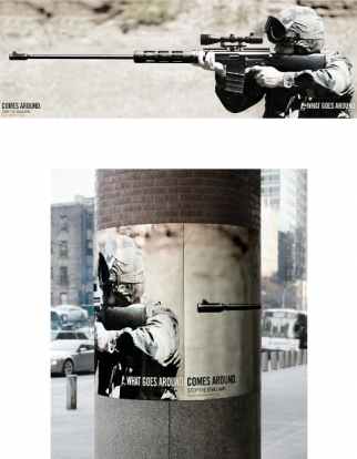 Global Coalition for Peace posters from Big Ant International in New York.