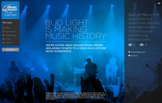 Bud Light is promoting it's 'Music First' program online.
