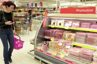 A shopper at Carrefour.