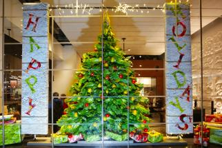Chipotle unveils holiday-themed window displays made of food