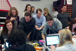 The social media team watched results change quickly as consumers voted on who should win a race.