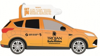 Rendering of a Trojan Safe Rides taxi