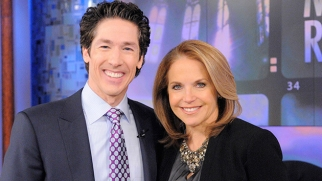 Pastor Joel Osteen and Katie Couric for a recent 'Katie' episode on faith