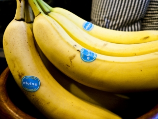Even the bananas are branded.