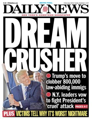 The cover of Tuesday's Daily News.