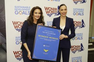 The United Nations designated Wonder Woman as the UN Honorary Ambassador for the Empowerment of Women and Girls in a ceremony. Pictured here: Lynda Carter, star of the 1970s television series and Gal Gadot, the star of the forthcoming