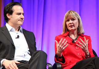Dell CMO Karen Quintos (right) and Best Buy's Drew Panayiotou at Ad Age's Digital Conference.