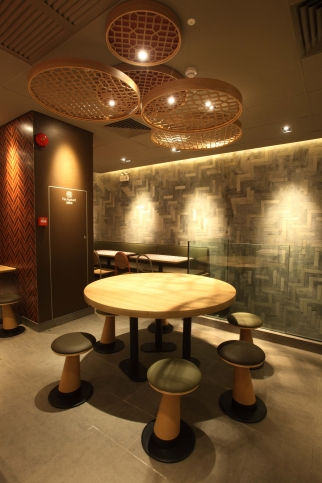 The new restaurant design plays on Chinese themes.