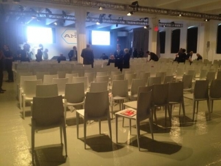 The conference hall during the evacuation. Everyone's back now.