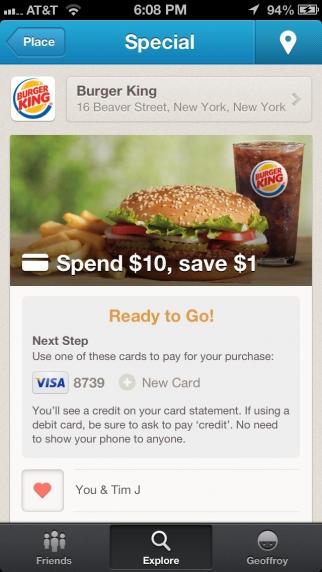 Visa offer for Burger King.