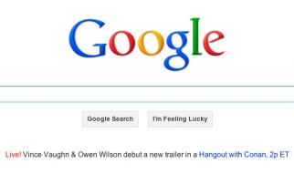 Google home page on Feb. 13 promotes a Hangout chat with Vince Vaugh, Owen Wilson and Conan O'Brien.