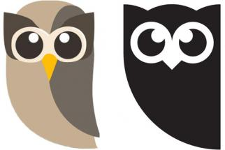 Hootsuite's old logo, left, and new logo.