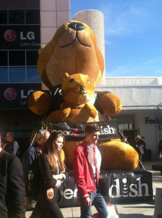 Dish promoted its Hopper DVR at CES with an inflatable kangaroo.