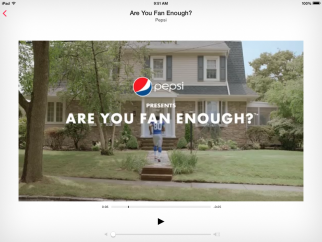 Pepsi's ad on its branded iTunes Radio station