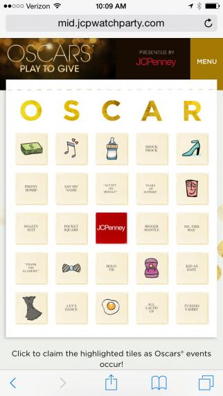A sample card in J.C. Penney's 'Oscars Play to Give' game.
