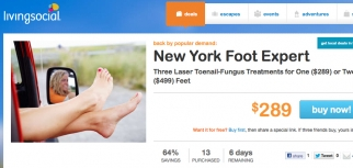 Another LivingSocial deal offers laser toenail fungus treatment at a Lower Manhattan facility.