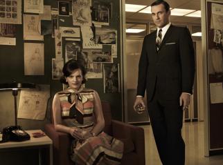 Peggy Olson (Elisabeth Moss) and Don Draper (Jon Hamm)