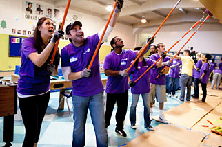 Mindshare staffers pitch in to paint the rec room at the Boys and Girls Club of Santa Monica.
