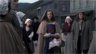 In one ad set in olden times, a woman wears the Miracle Whip logo like a Scarlet Letter and is ridiculed until a reverend declares,