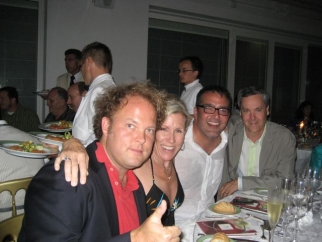 MJZ's Gay Guthrie with the men: CAA's Andrew Ault, Matt Bijarchi, and DDB/Chicago's Grant Hill