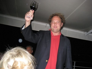 CAA's Andrew Ault makes a toast.