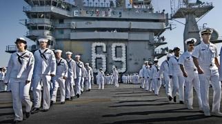 Navy sailors on the U.S.S. Dwight D. Eisenhower