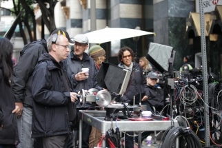 On the set of Mercedes' upcoming Super Bowl spot