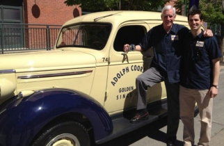 Pete Coors and his son David are traveling from Denver to New York to commemorate the eastward journey Coors Banquet made 30 years ago.