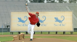 Los Angeles Angels pitcher Jered Weaver makes a pitch for Sobe.
