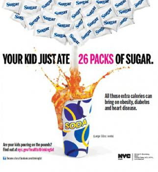 An ad from the city's campaign against sugary drinks.