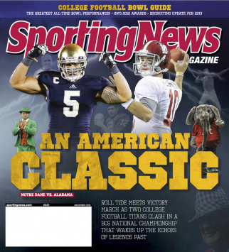 The December 2012 issue of Sporting News, once a weekly magazine