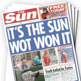 The Sun in happier times, claiming credit for the Conservative Party's 1992 election wins.