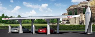 A rendering of a Tesla Supercharger station
