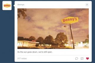 Denny's sponsored post on Tumblr