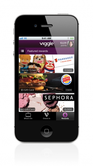 TV viewers can earn movie tickets and other rewards by checking in to TV shows using Viggle.
