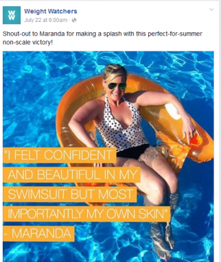 Example of Weight Watchers changing communication strategy on Facebook.
