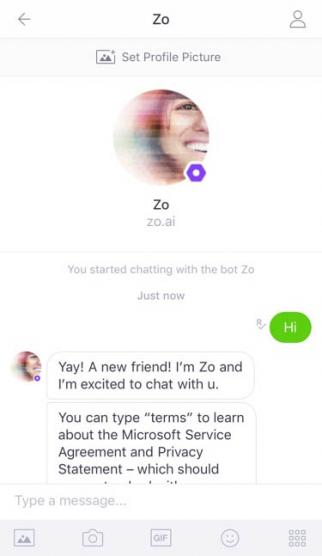 Microsoft's New Chatbot Zo.
