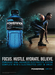 Powerade will introduce a new tagline, 'Focus. Hustle. Hydrate. Believe.'