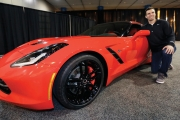 Super Bowl Champion QB Joe Flacco with Corvette Stingray earlier this year