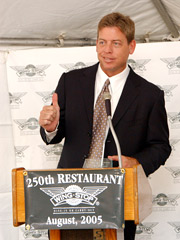 Troy Aikman, three-time Super Bowl champion, has been a spokesperson for Texas-based Wingstop since 2003.