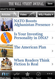 The Wall Street Journal's iPhone app